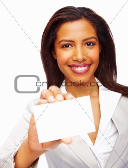 Happy businesswoman showing business card