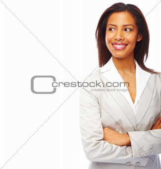 Smiling young businesswoman isolated on white background