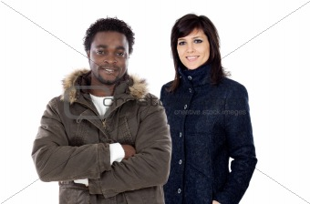 African boy and cute girl fashion with winter clothes