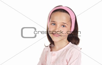 Adorable little girl dressed on pink