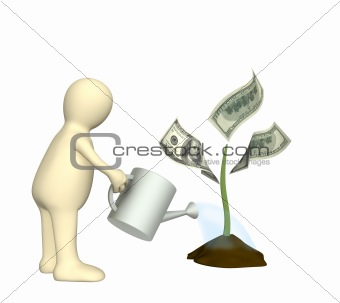 3d puppet, watering monetary plant