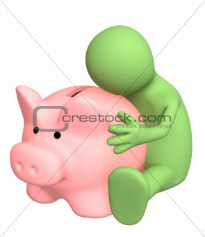 3d puppet, embracing piggy bank