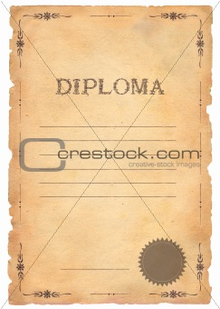 Old paper diploma with pattern