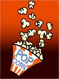 Popcorn in a box on red background