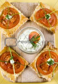 Appetizer puff pastry with mayonnaise sauce