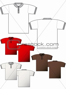 Polo T-shirt template back and front