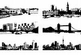 Cityscape silhouette black for your design