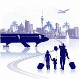 Happy family in airport, cityscape