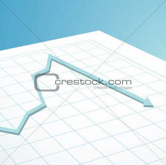 business graph arrow down
