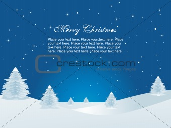 blue background with christmas tree and snow