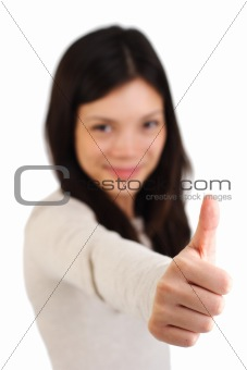 Thumbs up woman
