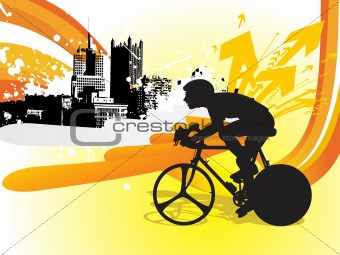cyclist on city background, illustration