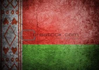 flag of Belarus on old wall background, vector wallpaper