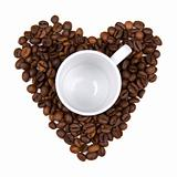 coffee bean heart made background with cup in the middle