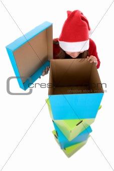 santa woman looking at empty christmas present box