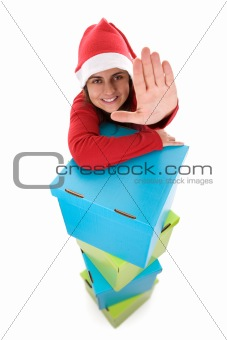 beautiful santa woman with a pile of christmas presents