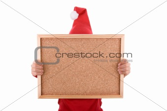 Santa woman celebrating christmas holiday holding frame in the h