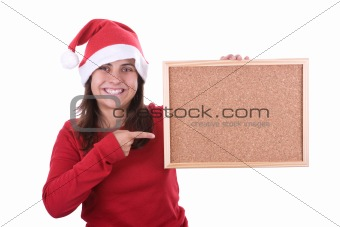 beautiful santa woman holding frame in the hand