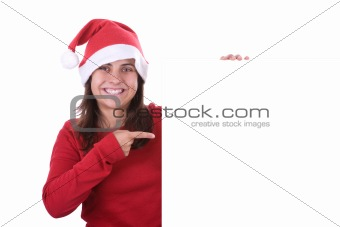 beautiful santa woman holding white frame with copyspace