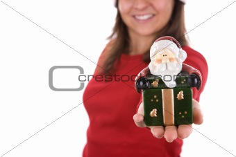 santa woman holding small christmas box in the hand