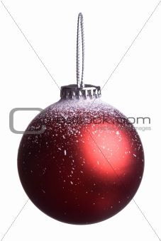 Single christmas red ball isolated on white background