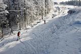 Ski run going up