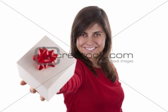 beautiful young woman with valentine present box