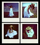 set of four instant photos with young girl outdoors