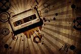 grunge texture background with music cassete