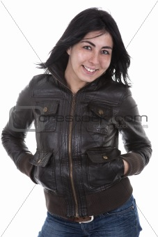 beautiful young woman smiling wearing leather jacket