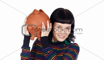 Casual girl with money box