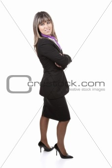 beautiful blond businesswoman wearing formal suit