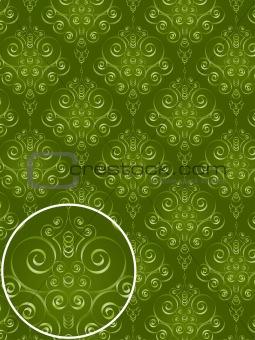 Green Damask Style Pattern