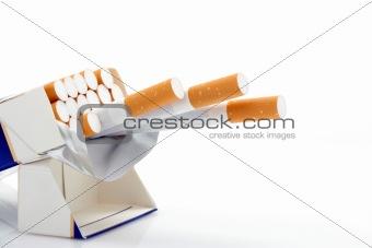Cigarettes over white