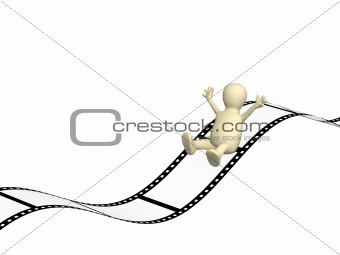 3d puppet sliding on photographic film