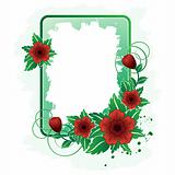 Rectangular frame with red flower