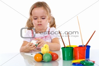 Little girl painting the easter eggs