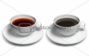 A cup of tea and a cup of coffee
