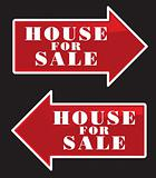 House For Sale Real Estate Sign Arrows.