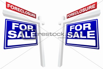 Pair of Blue Foreclosure For Sale Real Estate Signs In Perspective.