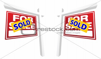 Pair of Red For Sale Real Estate Signs with Sold in Perspective.