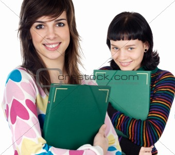 Attractive students with book