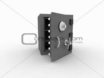 3d rendering of a open safe