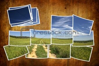 postcard tile with summer landscape over grunge background