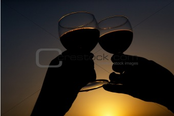 Toast with wine glass silhouette