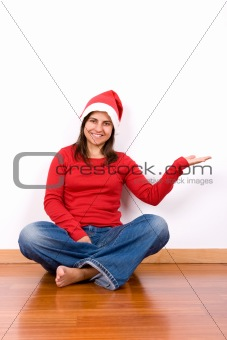 beautiful young woman celebrating christmas holiday