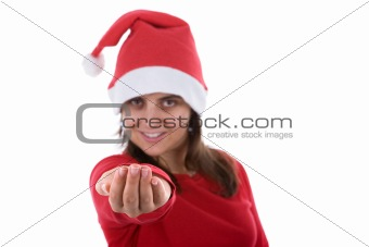beautiful young santa woman with her hand in holding position