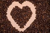 heart shape background made with coffee beans