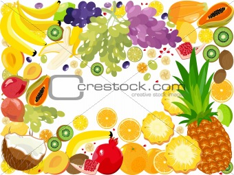 Fruits, vector frame