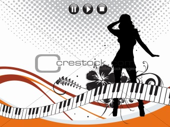 floral girl silhouette on musical background